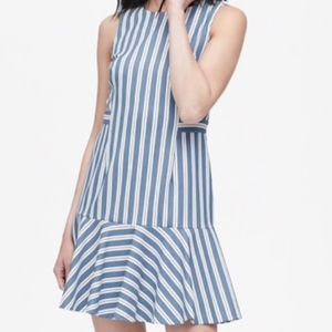 Banana Republic Petite Stripe Flounce-Hem Dress
